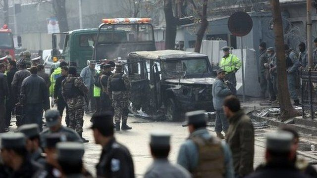 Police at the scene of the blast in Kabul