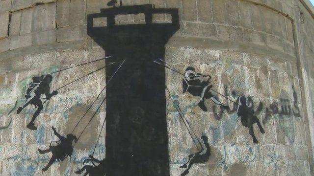 A Banksy mural in Gaza