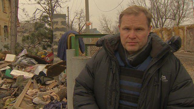 Paul Wood in Peski, near Donetsk airport