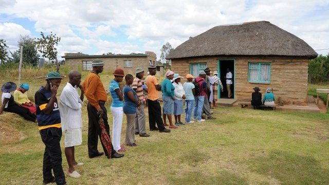 Voters queue to cast their ballots in Lesotho