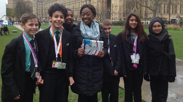 Newsround presenter Aisha with School Reporters