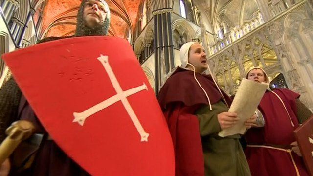 Re-enactment at Worcester Cathedral