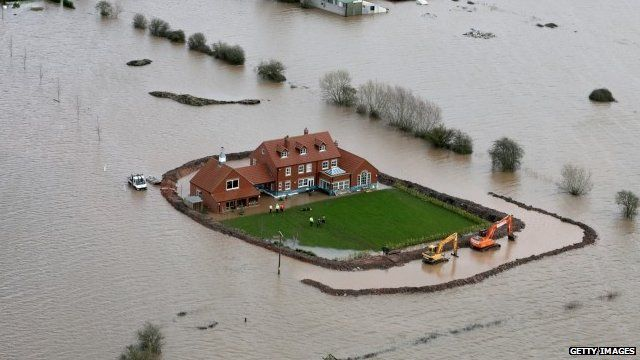Flood defences around a house