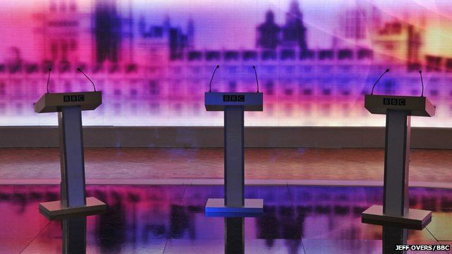 File image of empty podiums with BBC logo before televised election debate in 2010.