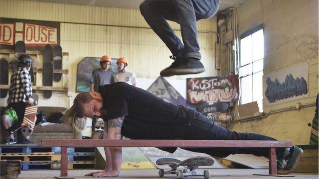 Skateboarding trick in Tacoma