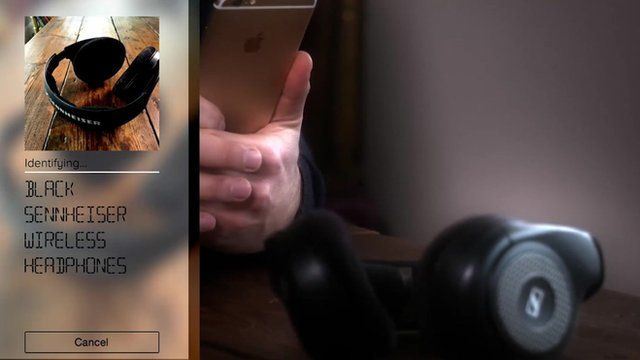 Shot of Camfind app being used to search headphones