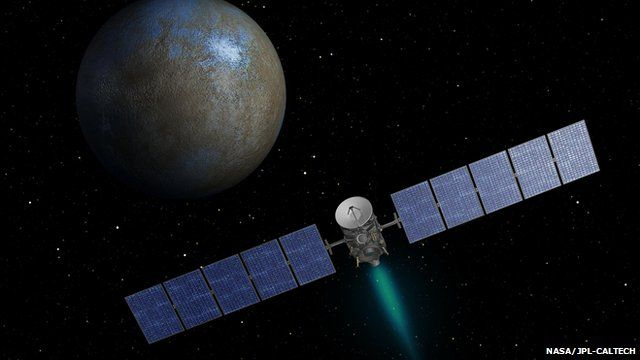 Artist's drawing of Nasa spacecraft Dawn approaching dwarf planet Ceres