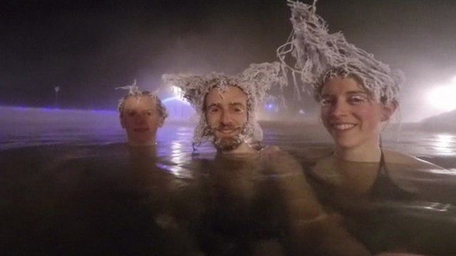 Three contestants with frozen hair