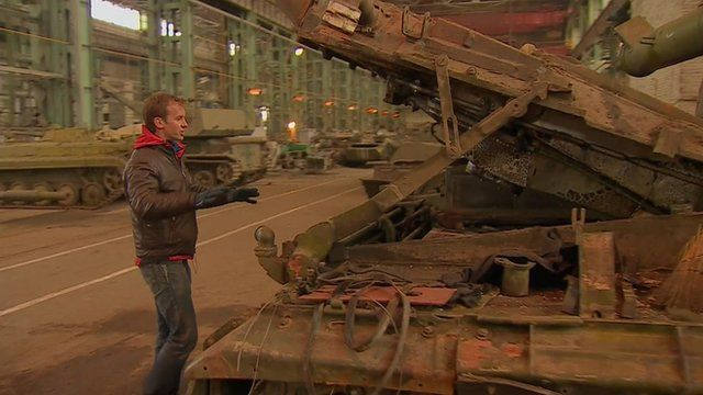 The BBC's Tom Burridge in a factory in Donetsk
