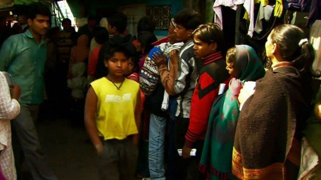 People queuing in Mumbai