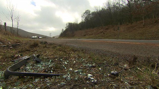 Scene of the crash on the A470