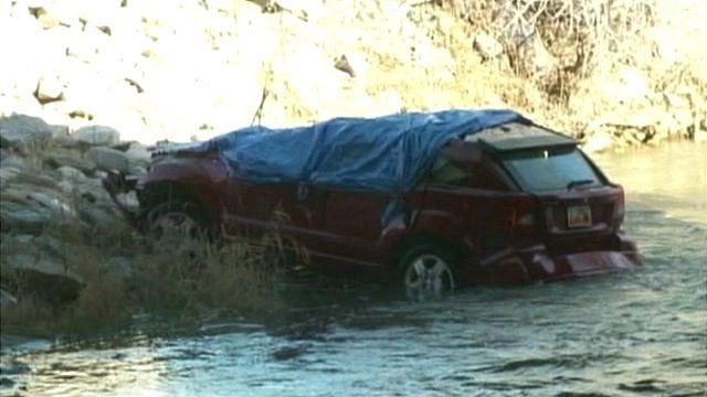 Car in Spanish Fork river, Utah