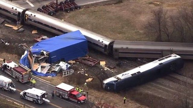Authorities respond to a collision between an Amtrak passenger train and a truck