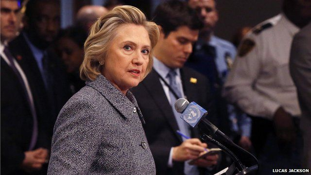 Hillary Clinton giving a news conference on her use of emails while US Secretary of State