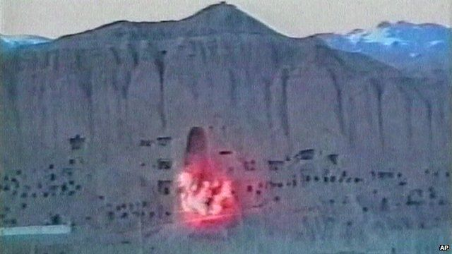 Moment of explosion as Taliban blow up Buddha statue in Afghan province of Bamiyan in March 2001