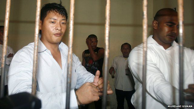 "File photo from September 2010 of Australians Andrew Chan (L) and Myuran Sukumaran in a temporary cell in Indonesia""s resort island of Bali"