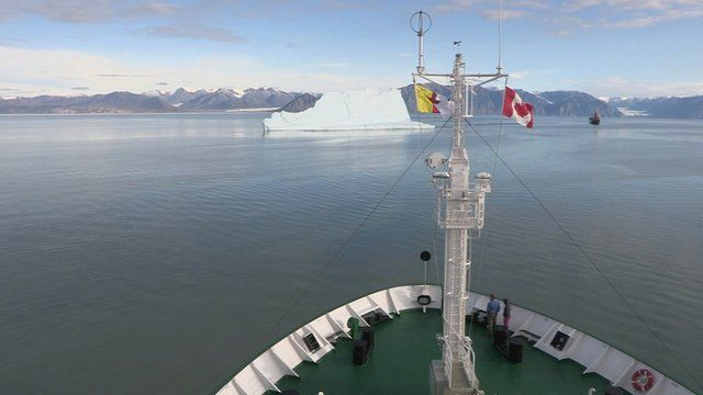 A ship navigating the North-east passage of the Arctic