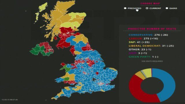 Election UK Political Map Based On Seats And Bets BBC News - 2015 us election map
