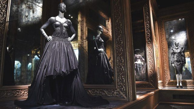 Media player Romantic gothic designs by British fashion designer Alexander  McQueen on display at the V A Savage Beauty 02cf0dcc2b9