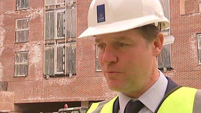 Nick Clegg visiting a building site in London