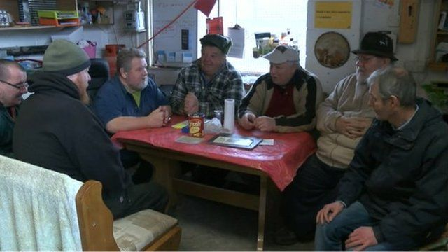 Men from the Squirrels Nest help group