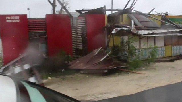 Footage shows damaged buildings in Port Vila