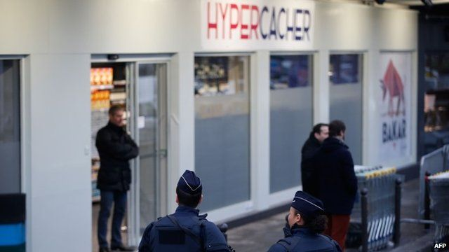 Hyper Cacher supermarket with police outside