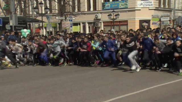 Students take part in race organised by officials