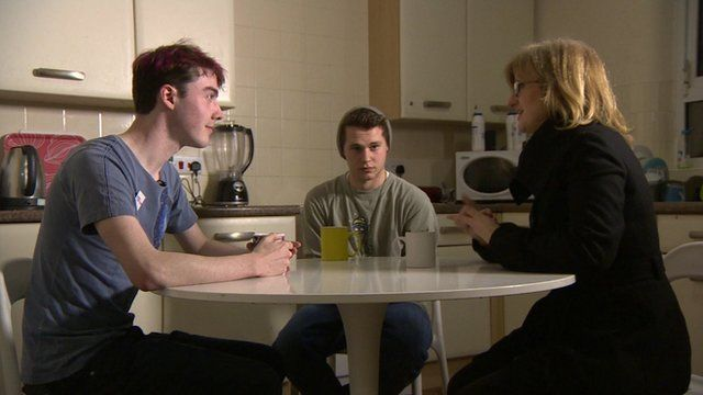 Young people in a flat, with Jayne McCubbin