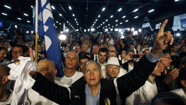 Likud party supporters listen to Israeli Prime Minister Benjamin Netanyahu deliver a speech in Tel Aviv March 18, 2015