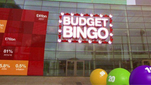 Sign saying 'Budget Bingo'