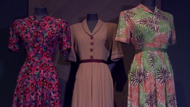 Dresses at the Fashion on the Ration exhibition at the Imperial War Museum