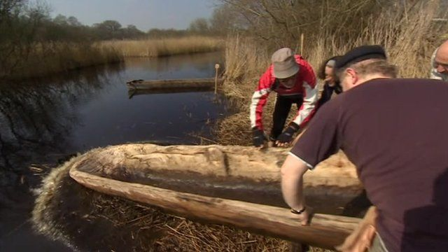 Replica Iron Age canoes on Somerset Levels