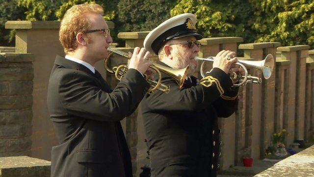 Buglers Mike Greaves and his son Colin