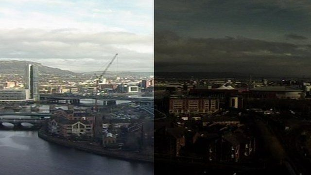 Eclipse before and after over Belfast