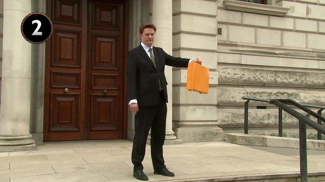Danny Alexander with yellow Budget box