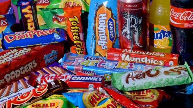 Photo of biscuits, crisps, chocolate bars and carbonated drinks