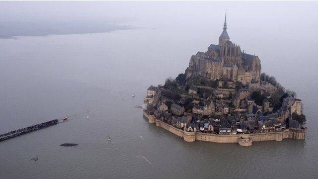 Mont Saint-Michel cut off at high tide