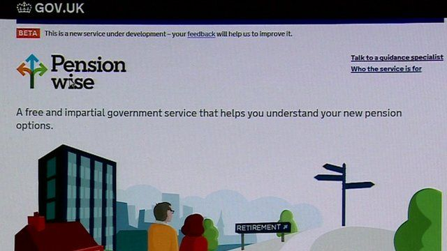 A shot of the government pensions advice webpage