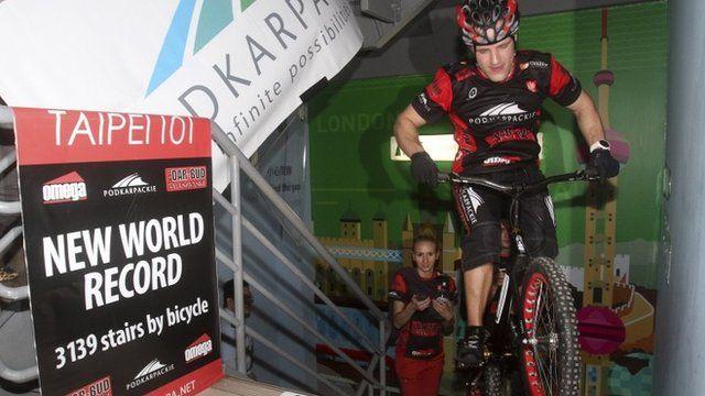 Krystian Herban on bike on final stair