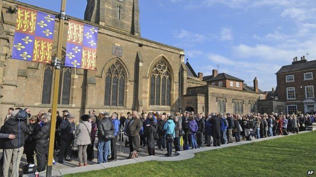 Queue outside Leicester Cathedral