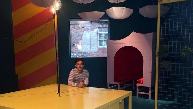 Artist James Leadbitter in Madlove, a designer asylum