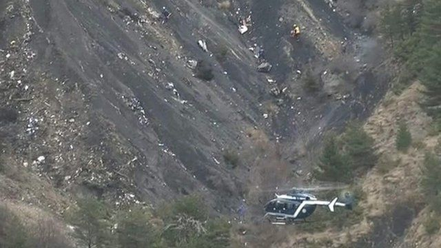 Debris is scattered over the area after a Germanwings Airbus 320 crashed in the French Alps,