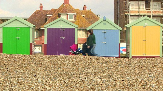 People walking on seafront in Hove