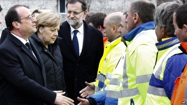 French President Francois Hollande, left, German Chancellor Angela Merkel, second left, and Spanish Prime Minister Mariano Rajoy