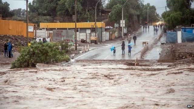 Two dead as flash flooding hits Chile Atacama desert region
