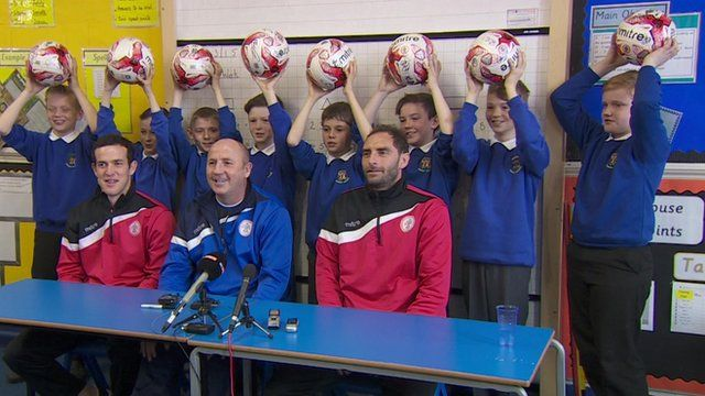 Pupils quizzed Stanley players Luke Joyce and Nicky Hunt and manager John Coleman