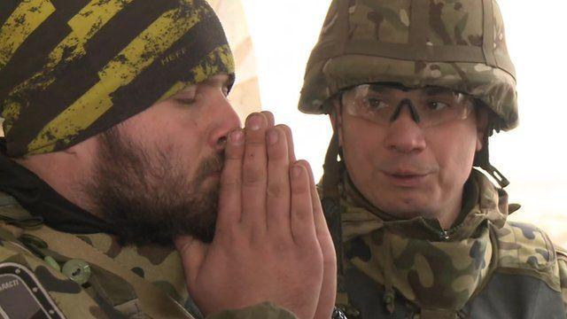 Two Ukrainian volunteers