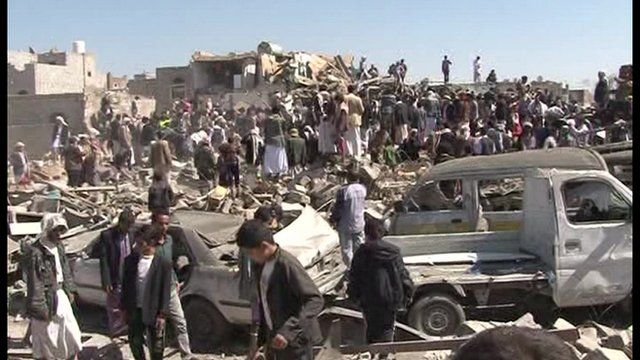 Aftermath of Saudi-led airstrikes in Yemen