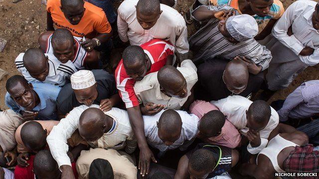 Aerial view of Nigerian voters waiting at a polling station in Abuja